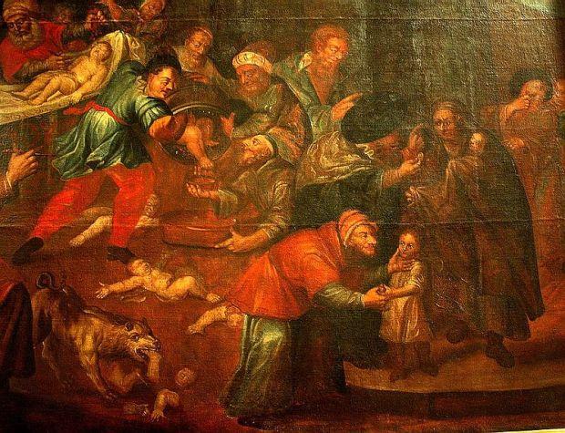 Kontrowersyjny obraz autorstwa Karola de Prevot (XVIII w.) z katedry w Sanomierzu przedstawiający rzekomy mord rytualny - niemy bohater