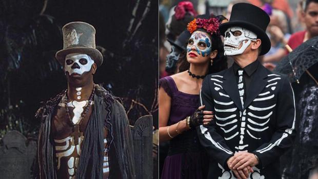 """Kult zmarłych - przebranie wyobrażające kościotrupa: """"Żyj i pozwól umrzeć"""" (po lewej) i """"Spectre"""" (po prawej)."""