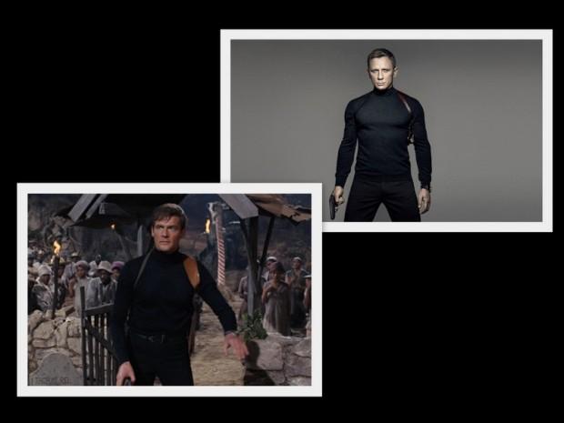 """Daniel Craig na oficjalnym fotosie do """"Spectre"""" i Roger Moore w """"Żyj i pozwól umrzeć"""" (1972)"""