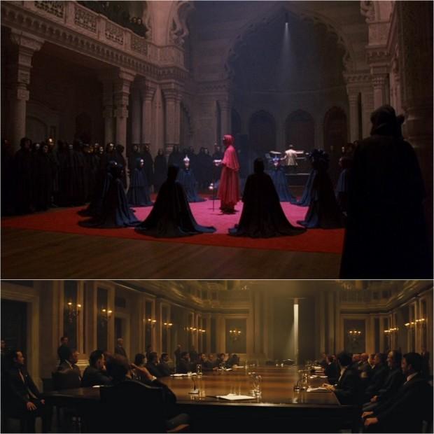 """Tajne zgromadzenie ukazane w formie przypominającą inscenizację teatralną (balkony, loże, snop światła pośrodku kadru): """"Oczy szeroko zamknięte"""" (góra) i """"Spectre"""" (dół)."""