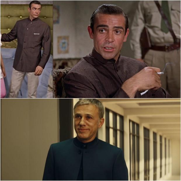 """Tak zwana nehru jacket - marynarka z wykładanym kołnierzem zakrywająca biodra: Sean Connery w """"Doktorze No"""" (góra) i Christoph Waltz w """"Spectre"""" (dół),"""