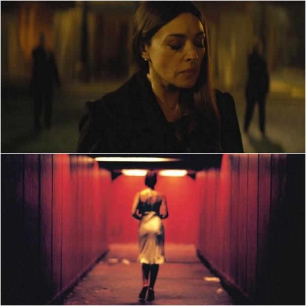 """Wie, że umrze (chociaż nie umrze) i nie wie, że umrze (chociaż umrze): Monica Bellucci w bliźniaczej """"tunelowej"""" sekwencji"""" - jako Lucia w """"Spectre"""" (góra) i jako Alex w """"Nieodwracalnym"""" (dół)."""