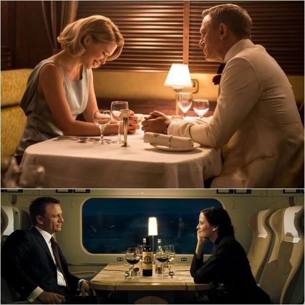 """Przedział w pociągu początkiem romansu? """"Spectre"""" (góra) i """"Casino Royale"""" (dół)."""