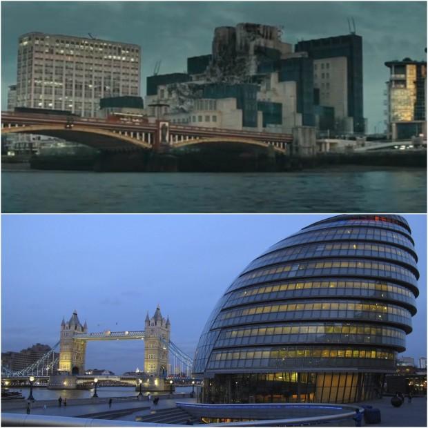 Spalona siedziba MI6 i nowoczesne Międzynarodowe Centrum Bezpieczeństwa (w rzeczywistości to City Hall w Londynie) jako symbol starego i sprawdzonego oraz następującej po nim nowoczesności, będącej niekoniecznie trafionym wyborem.