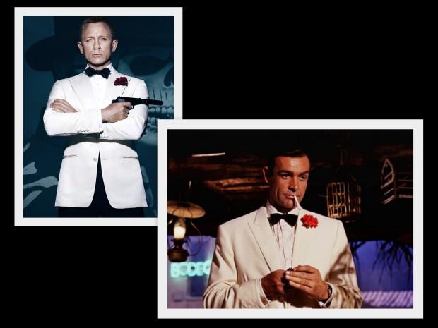 """Daniel Craig na oficjalnym fotosie do """"Spectre"""" i Sean Connery w scenie z """"Doktora No"""" (1962)."""