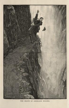 Słynna rycina Pageta przedstawiająca śmiertelną potyczkę Sherlocka Holmesa i profesora Moriarty'ego. /Źródło: Wikipedia, domena publiczna.